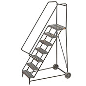 "7 Step Aluminum Wheel-Barrow Style Rolling Ladder 16""W X 14""D Plat. Ribbed Tread - WLARTR107164"