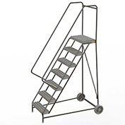 "7 Step Aluminum Wheel-Barrow Style Rolling Ladder 24""W X 14""D Plat. Grip Strut Tread - WLARTR107245"