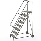 "8 Step Aluminum Wheel-Barrow Style Rolling Ladder 24""W X 14""D Plat. Grip Strut Tread - WLARTR108245"