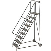 "9 Step Aluminum Wheel-Barrow Style Rolling Ladder 24""W X 14""D Plat. Ribbed Tread - WLARTR109244"