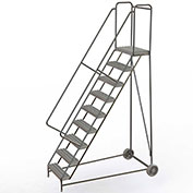 "9 Step Aluminum Wheel-Barrow Style Rolling Ladder 24""W X 14""D Plat. Grip Strut Tread - WLARTR109245"