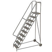 "10 Step Aluminum Wheel-Barrow Style Rolling Ladder 24""W X 14""D Plat. Ribbed Tread - WLARTR110244"