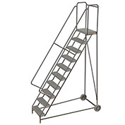 "10 Step Aluminum Wheel-Barrow Style Rolling Ladder 24""W X 14""D Plat. Grip Strut Tread - WLARTR110245"