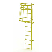 11 Step Steel Caged Walk Through Fixed Access Ladder, Safety Yellow - WLFC1111-Y