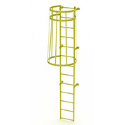 13 Step Steel Caged Walk Through Fixed Access Ladder, Safety Yellow - WLFC1113-Y