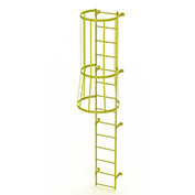 14 Step Steel Caged Walk Through Fixed Access Ladder, Safety Yellow - WLFC1114-Y
