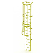 17 Step Steel Caged Walk Through Fixed Access Ladder, Safety Yellow - WLFC1117-Y