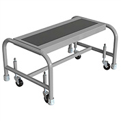 "1 Step Mobile Steel Step Stand w/ Solid Anti-Slip Top Step & 24""W Platform - WLSR001243"