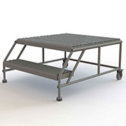 "2 Step Mobile Work Platform 28""W x 46""L, No Handrails, Gray - WLWP023636"