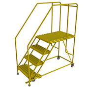 "4 Step Mobile Work Platform 35""W x 62""L, 36"" Handrails, Safety Yellow - WLWP142436SL-Y"
