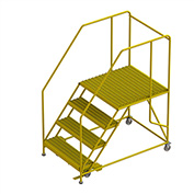 "4 Step Mobile Work Platform 40""W x 62""L, 36"" Handrails, Safety Yellow - WLWP143636SL-Y"