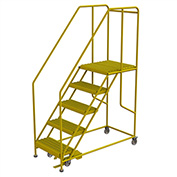 "5 Step Mobile Work Platform 28""W x 60""L, 36"" Handrails, Safety Yellow - WLWP152424SL-Y"