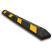 "Parking Lot Wheel Stop - 72"" L - Black w/Yellow Stripes"