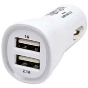 Tripp Lite Dual Port USB Tablet Phone Car Charger High Power 5V / 3.1A