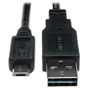 Tripp Lite 1ft USB 2.0 Universal Reversible Cable A to 5Pin Micro B M/M 1'