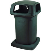 Toter Heavy Duty Decorative Litter Container w/Bag Holder Straps, 60 Gallon Graystone - 860-B-GYS