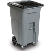 Toter Heavy Duty Two-Wheel Trash Cart w/Casters, 64 Gallon Greenstone - ACC64-56915