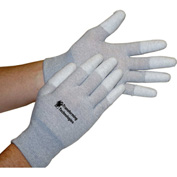 Transforming Technologies ESD Inspection Gloves, Finger Tip Coated, Medium, 12 Pairs/Pack