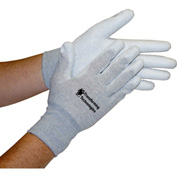 Transforming Technologies ESD Inspection Gloves, Palm Coated, Large, 12 Pairs/Pack
