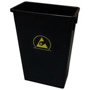 Transforming Technologies 22 Gallon Anti-Static Waste Basket , Black - WBAS90