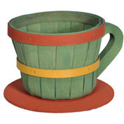 1/4 Peck Coffee Cup Wood Basket with Side Handle 4 Pc Lemon