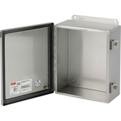 """Hoffman A12106CHNFSS Junction Box, Type 4 Hinged Cover, 12"""" x 10"""" x 6"""", SS Type 304"""