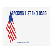 "USA w/Flag Packing List Enclosed - Panel Face 4-1/2"" x 5-1/2"" - 1000 Pack"