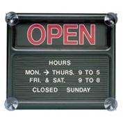 "Quartet Open/Closed Sign with Custom Message 13-1/8"" x 15"" Black"