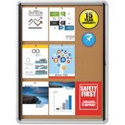 "Quartet® Enclosed Bulletin Board - Cork with Aluminum Frame - 30"" x 39"" - 1 Door"