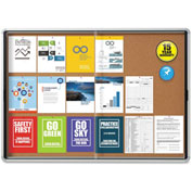 "Quartet® Cork Bulletin Board w/ Sliding Glass Door - Aluminum Frame - 56"" x 39"" - 2 Door"