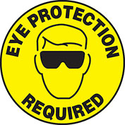 """Accuform MFS200 Eye Protection Required Floor Sign, 17"""" Diameter, Adhesive Vinyl, 1/Each"""