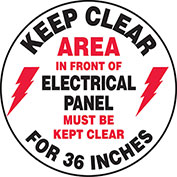 """Accuform MFS729 Keep Clear In Front Of Electrical Floor Sign, 17"""" Diameter, Adhesive Vinyl"""