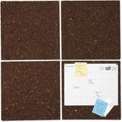 "Universal® Bulletin Board Tile Panels - Dark Brown Cork - 12"" x 12"" - Pack of 4"