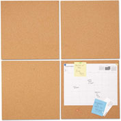 "Universal® Bulletin Board Tile Panels - Natural Cork - 12"" x 12"" - Pack of 4"