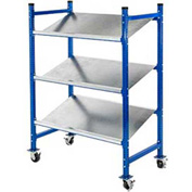 "UNEX Flow Cell Mobile Pick Tray Rack, 3 Flat Steel Shelves, 52""W x 28""D x 72""H"