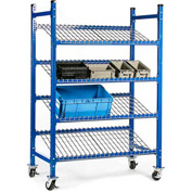 "UNEX FCMFWS52283 Flow Cell Mobile Pick Tray Rack, 3 Flat Wire Shelves, 52""W x 28""D x 72""H"