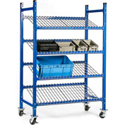 "UNEX Flow Cell Mobile Pick Tray Rack, 3 Tilted Wire Shelves, 52""W x 28""D x 72""H"