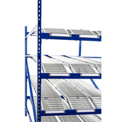 "UNEX RR99K2R8X8-A Gravity Rack with Knuckled Span-Track Add-On 96""W x 96""D x 84""H W/4 Levels"