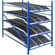 "UNEX Gravity Flow Roller Rack Knuckled Span-Track Wheel bed Starter 96""W x 72""D x 84""H with 4 Levels"