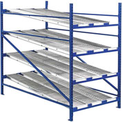 "UNEX Gravity Flow Roller Rack with Span Track Add-On 48""W x 96""D x 84""H with 4 Levels"