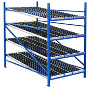 "UNEX Gravity Flow Roller Rack with Wheel Bed Add-On 48""W x 96""D x 84""H with 4 Levels"
