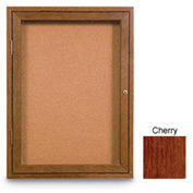 "United Visual Products 18""W x 24""H 1-Door Illuminated Corkboard with Cherry Frame"