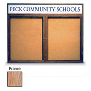 "United Visual Products 42""W x 32""H 2-Door Non-Illuminated Corkboard with Header and Light Oak Frame"