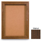 "United Visual Products 60""W x 36""H 2-Door Non-Illuminated Corkboard with Walnut Frame"