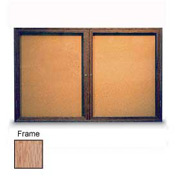 "United Visual Products 72""W x 36""H 2-Door Illuminated Corkboard with Light Oak Frame"