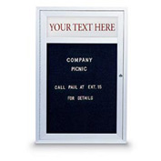 "United Visual 24""W x 36""H 1-Door Indoor Enclosed Illuminated Letter Board w/Header & Satin Frame"
