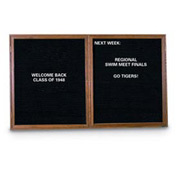 "United Visual Products 42""W x 32""H 2-Door Indoor Wood Enclosed Letter Board with Walnut Frame"