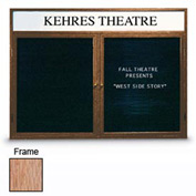 "United Visual 60""W x 36""H 2-Door Indoor Wood Enclosed Letter Board w/Header and Light Oak Frame"