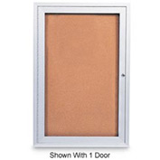 "United Visual Products 72""W x 36""H 2-Door Outdoor Enclosed Corkboard with Satin Aluminum Frame"
