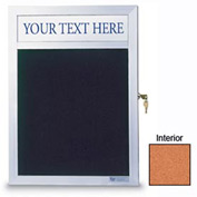 "United Visual Products 12""W x 18""H Slim Style Enclosed Corkboard with Header and Satin Frame"